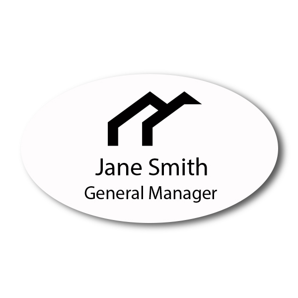 """Laser Engraved Oval White Name Tag - 1.75"""" x 3"""""""