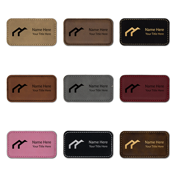 """Leatherette Rectangle Magnetic Name Tag - 1.75"""" x 3.25"""" Color Examples"""