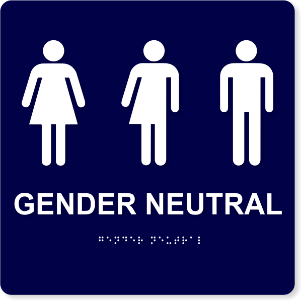 """Gender Neutral with Icons - ADA Compliant   10"""" x 10"""""""
