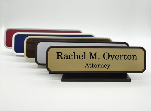 Classic Engraved Executive Desk Name Plate with Round Corners