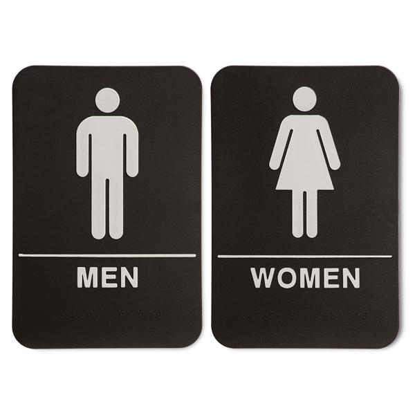 "ADA Braille Men's & Women's Restroom Sign Set 6"" x 9"" Black"