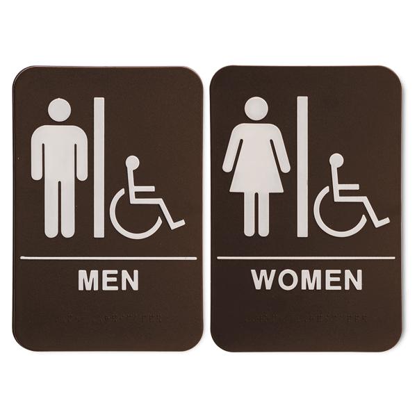 """ADA Braille Men's & Women's Handicap Restroom Sign Set 6"""" x 9"""" Brown"""