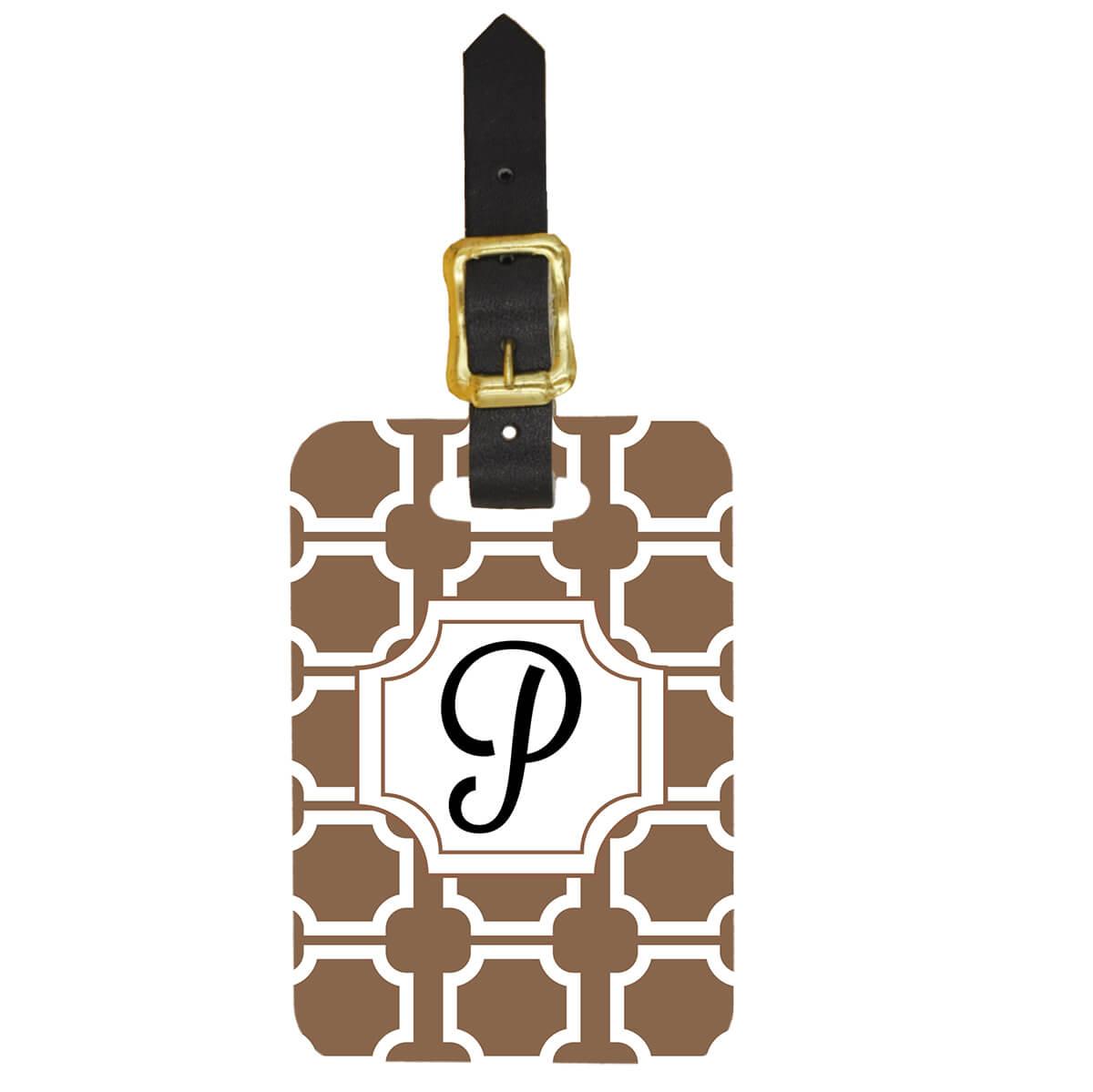 Custom Luggage Tag Art Deco Monogram Design