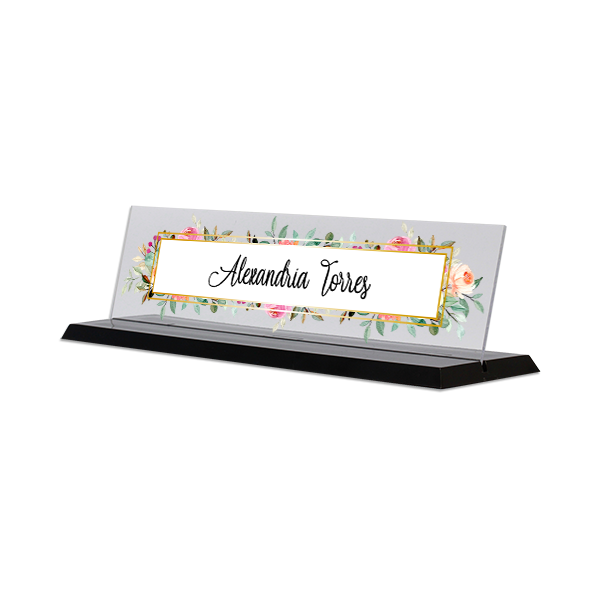 Watercolor Floral Full Color Acrylic Desk Name Plate with Black Base
