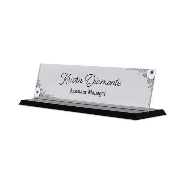 Watercolor Blue Full Color Acrylic Floral Desk Name Plate with Black Base