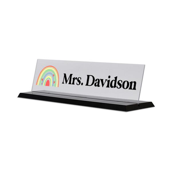 Modern Watercolor Rainbow Full Color Acrylic Teacher Desk Plate with Black Base