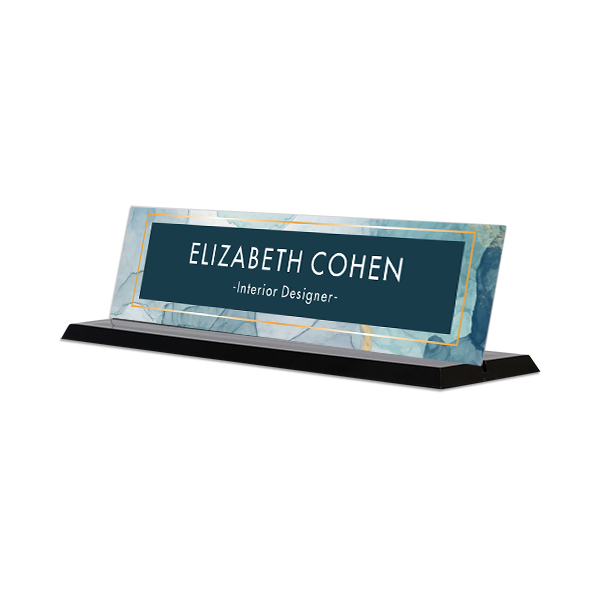 Modern Watercolor Navy Full Color Acrylic Desk Name Plate with Black Base