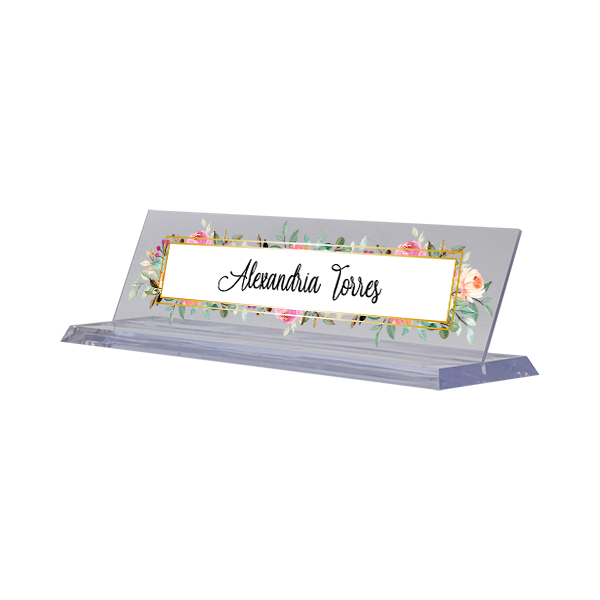Watercolor Floral Full Color Acrylic Desk Name Plate with Clear Base