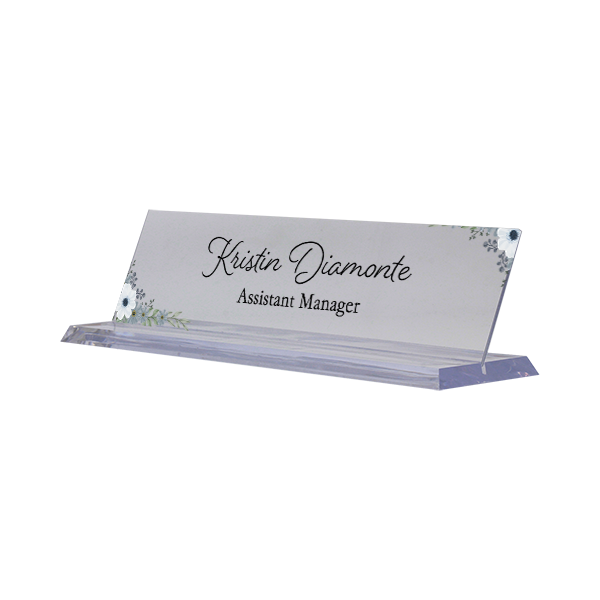 Watercolor Blue Full Color Acrylic Floral Desk Name Plate with Clear Base