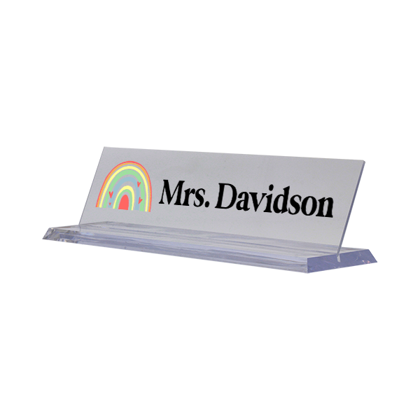 Modern Watercolor Rainbow Full Color Acrylic Teacher Desk Plate with Clear Base