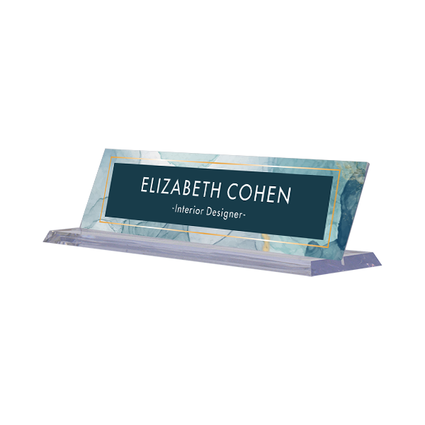 Modern Watercolor Navy Full Color Acrylic Desk Name Plate with Clear Base
