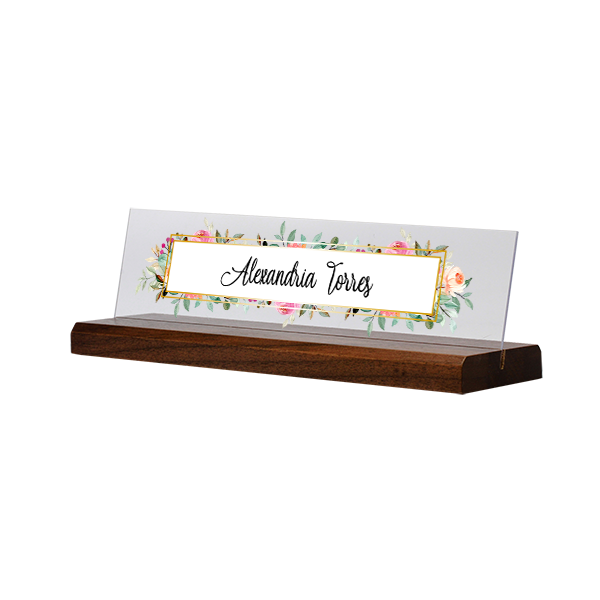 Watercolor Floral Full Color Acrylic Desk Name Plate with Walnut Base