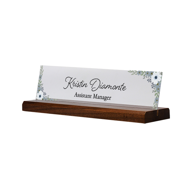 Watercolor Blue Full Color Acrylic Floral Desk Name Plate with Walnut Base