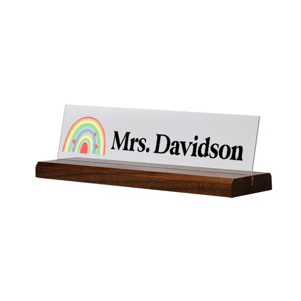 Modern Watercolor Rainbow Full Color Acrylic Teacher Desk Plate with Wood Base