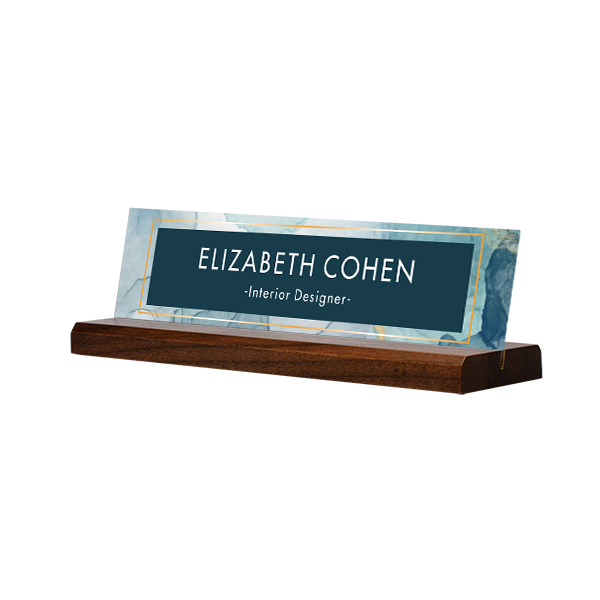 Modern Watercolor Navy Full Color Acrylic Desk Name Plate with Walnut Base