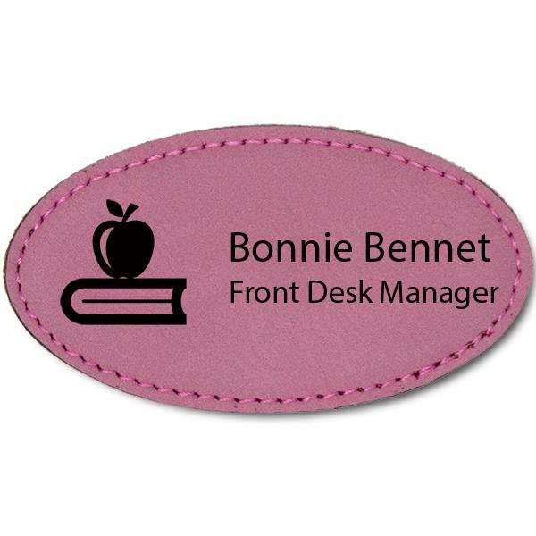 Apple on Book Teacher Leatherette Oval Name Tag