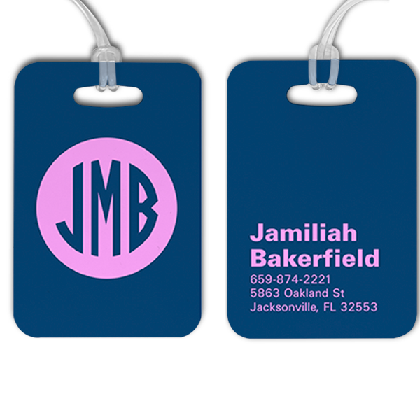 Traditional Monogram Lettering Luggage Tag