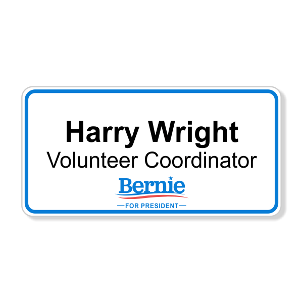 Bernie Sanders Presidential Campaign Name Tag