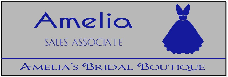 Bridal Shop 2 Line Rectangle Name Badge