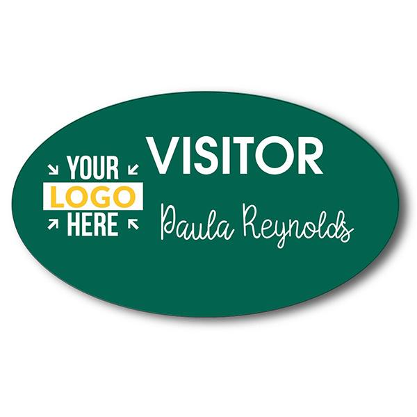 Visitor Chalkboard Reusable Oval Name Tag
