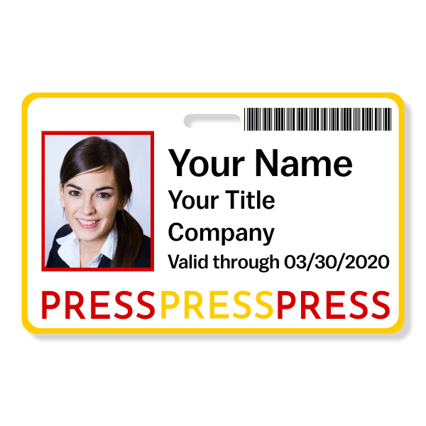 Colorful Barcoded Press Pass ID Badge