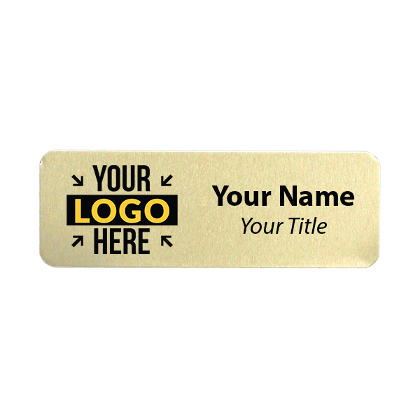 Custom Brushed Gold Name Tag - 1 x 3