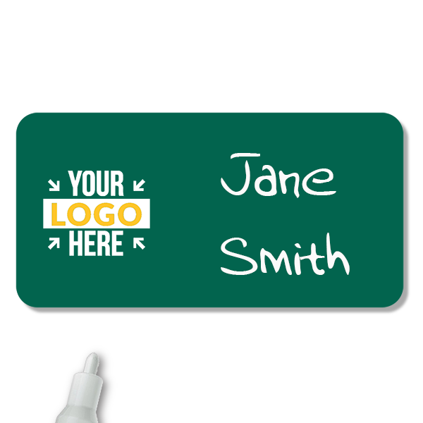 Customized 1.25 x 3 Chalkboard Reusable Name Tag - Example