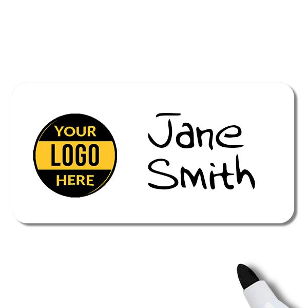 Customized 1.5 x 3 Dry Erase Reusable Name Tag - Example
