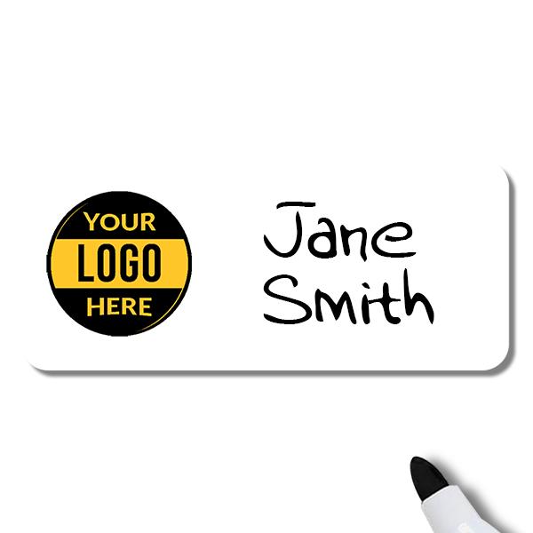 Customized 1.5 x 3.5 Dry Erase Reusable Name Tag - Example