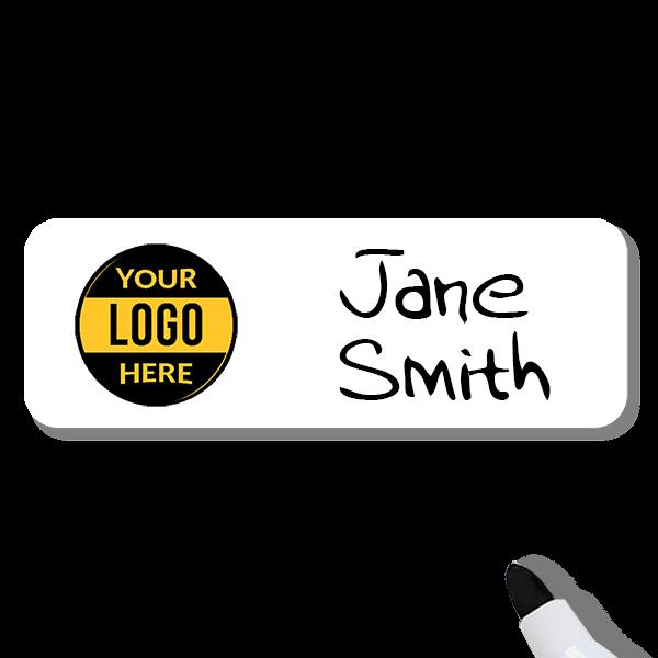 Customized 1.25 x 3 Dry Erase Reusable Name Tag - Example