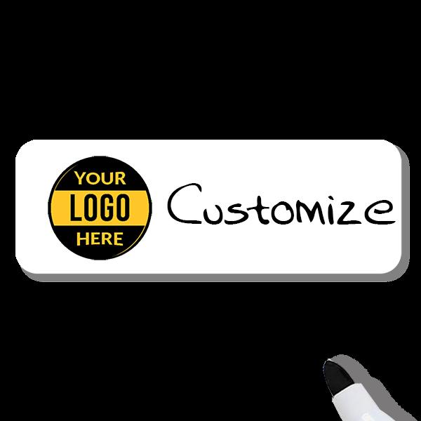Customized 1.25 x 3 Dry Erase Reusable Name Tag
