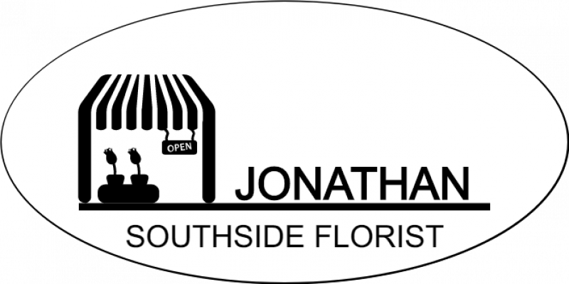 2 Line  Florist Store Front Oval Name Badge