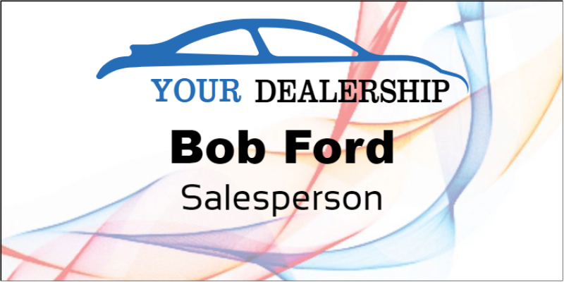 Abstract Color Car Dealer Name Tag