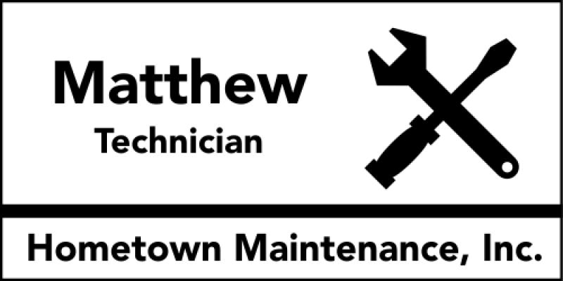 Maintenance Screwdriver 3 Line Name Badge