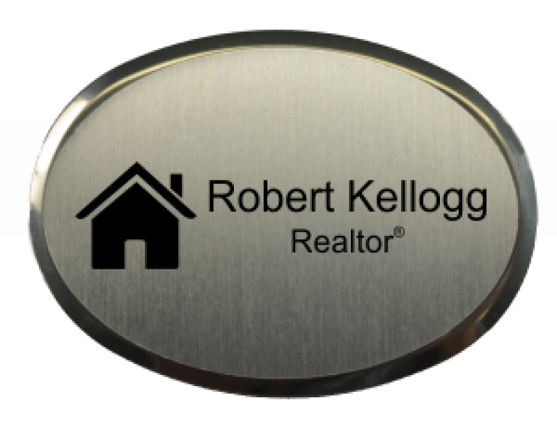 2.5x 1.75 inch Oval Real Estate Name Badge w/ Holder
