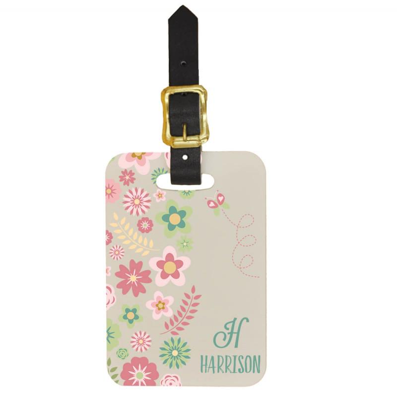 Custom Luggage Tag w Monogram and Flowers