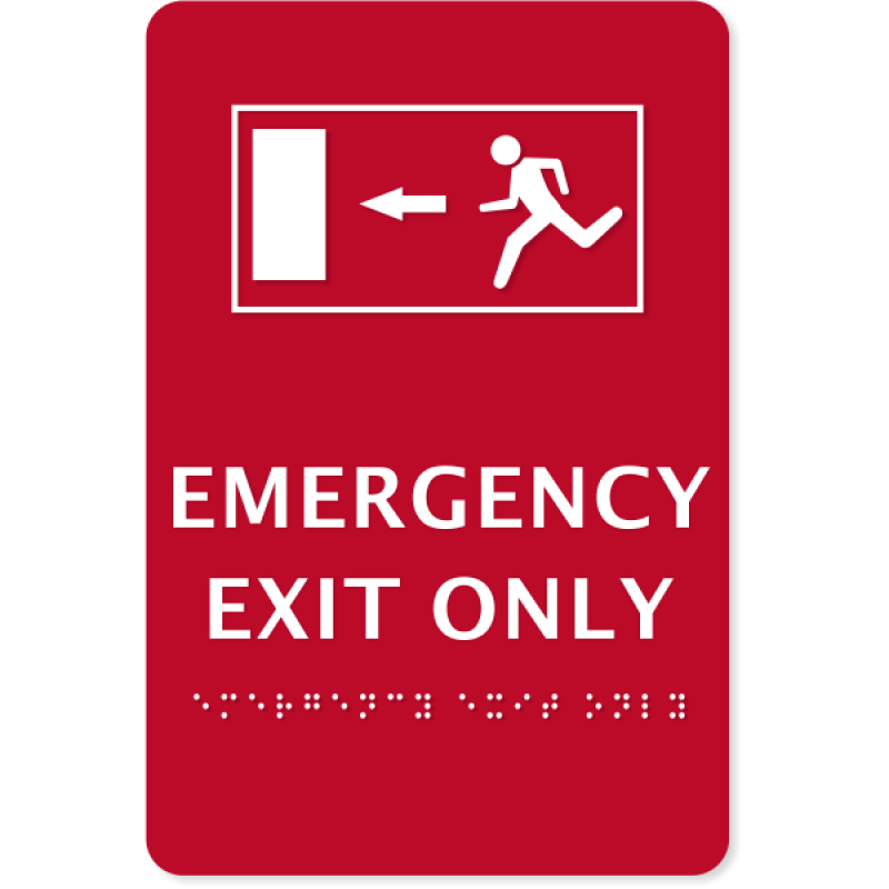 """ADA Compliant Emergency Exit Only Sign   9"""" x 6"""""""