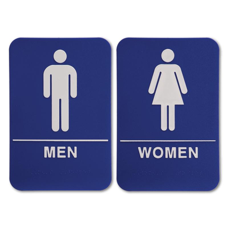 "Blue ADA Braille Men's & Women's Restroom Sign Set | 9"" x 6"""
