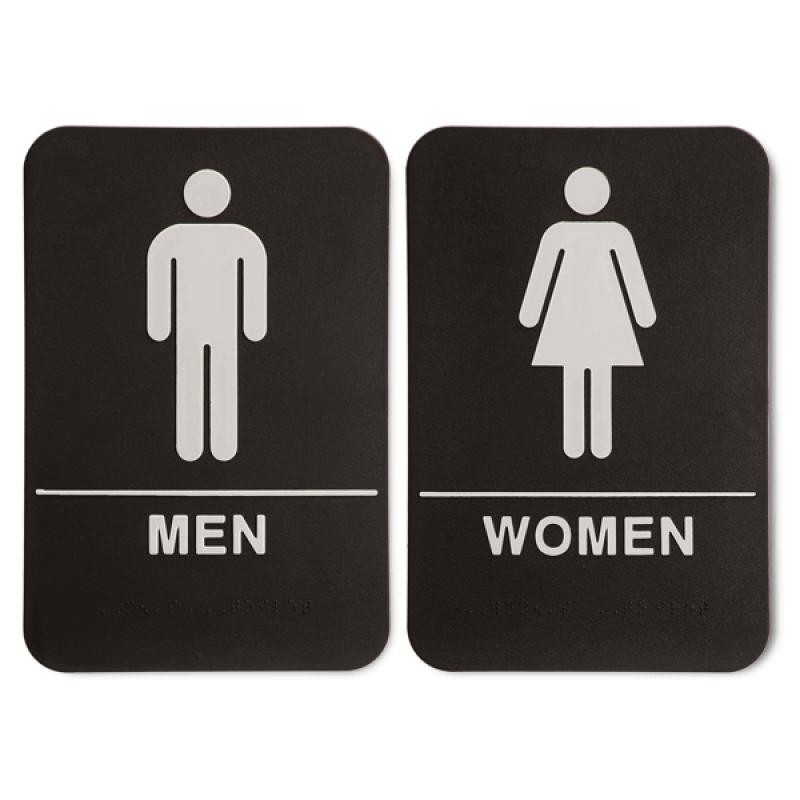 "Black ADA Braille Men's & Women's Restroom Sign Set   9"" x 6"""