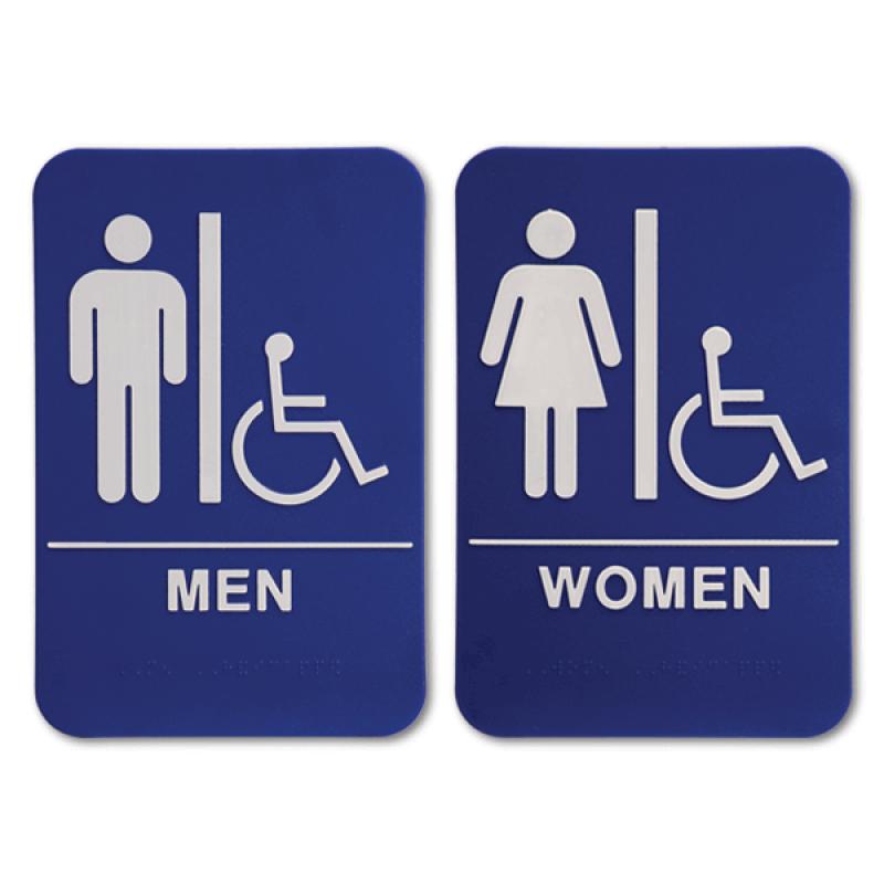 "Blue ADA Braille Men's & Women's Handicap Restroom Sign Set | 9"" x 6"""