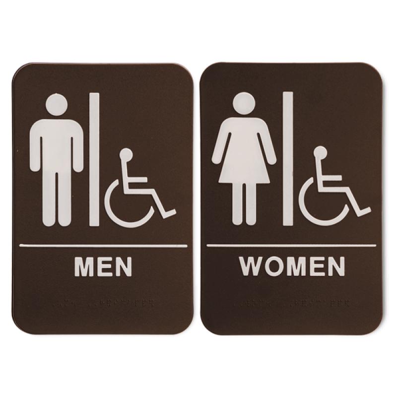"""Brown ADA Braille Men's & Women's Handicap Restroom Sign Set   9"""" x 6"""""""