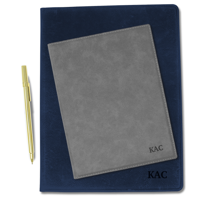 Leatherette Folio with Engraved Initial