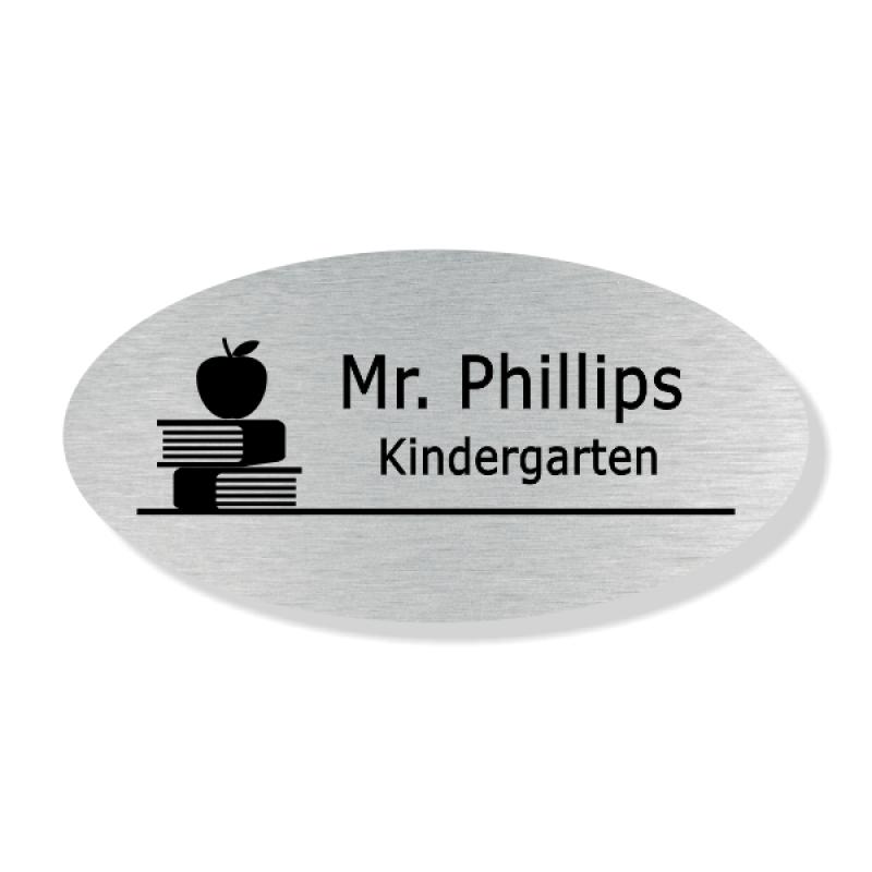 Teacher Oval 2 Line Name Badge A