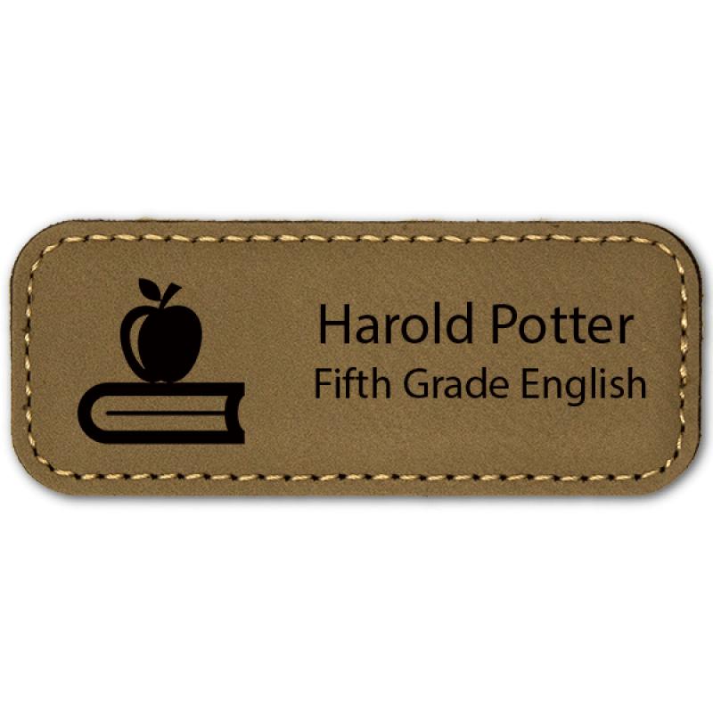 Apple on Book Teacher Leatherette Name Tag
