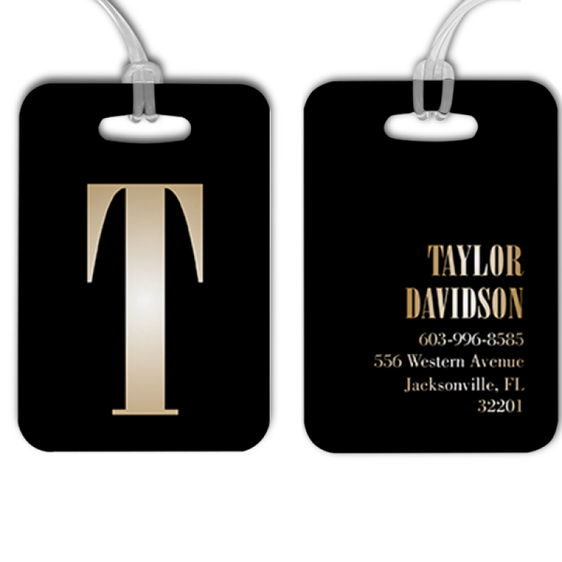 Gold Lettering Monogram Luggage Tag