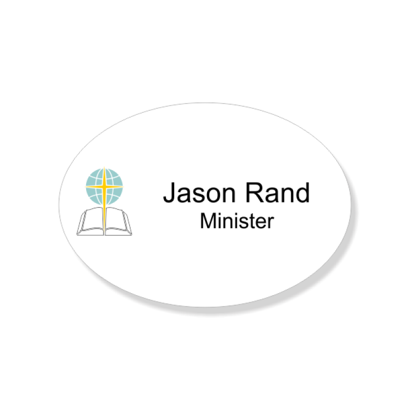 Baptist Full Color Name Tag - Oval