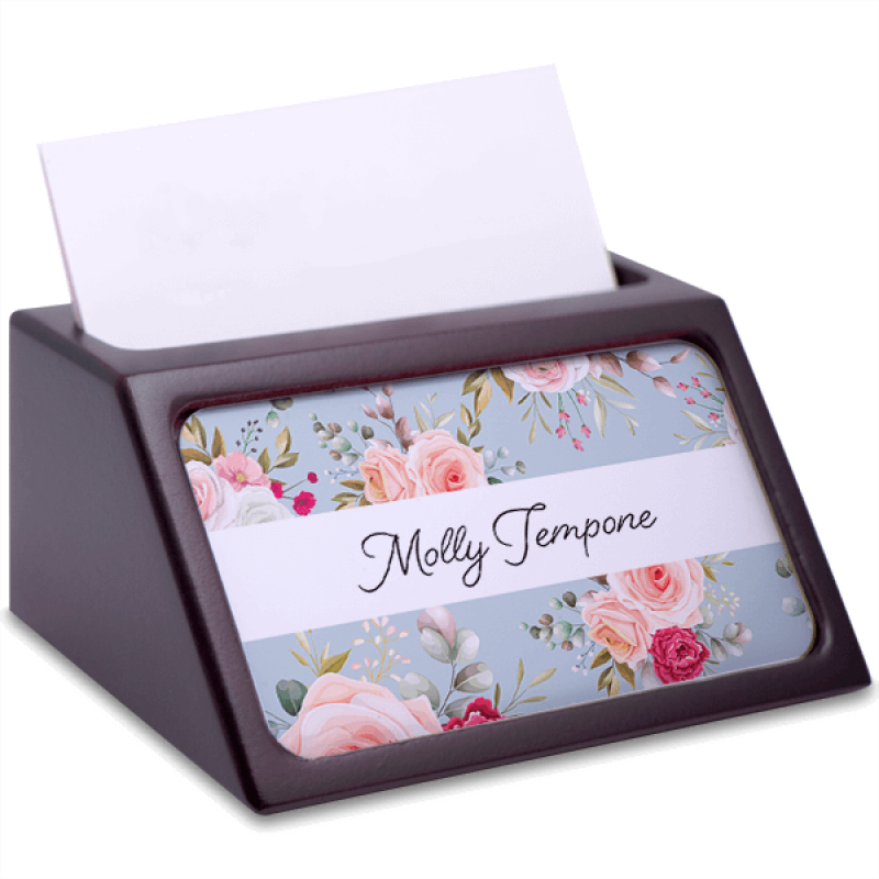 Floral Mahogany Business Card Holder with Full Color Insert