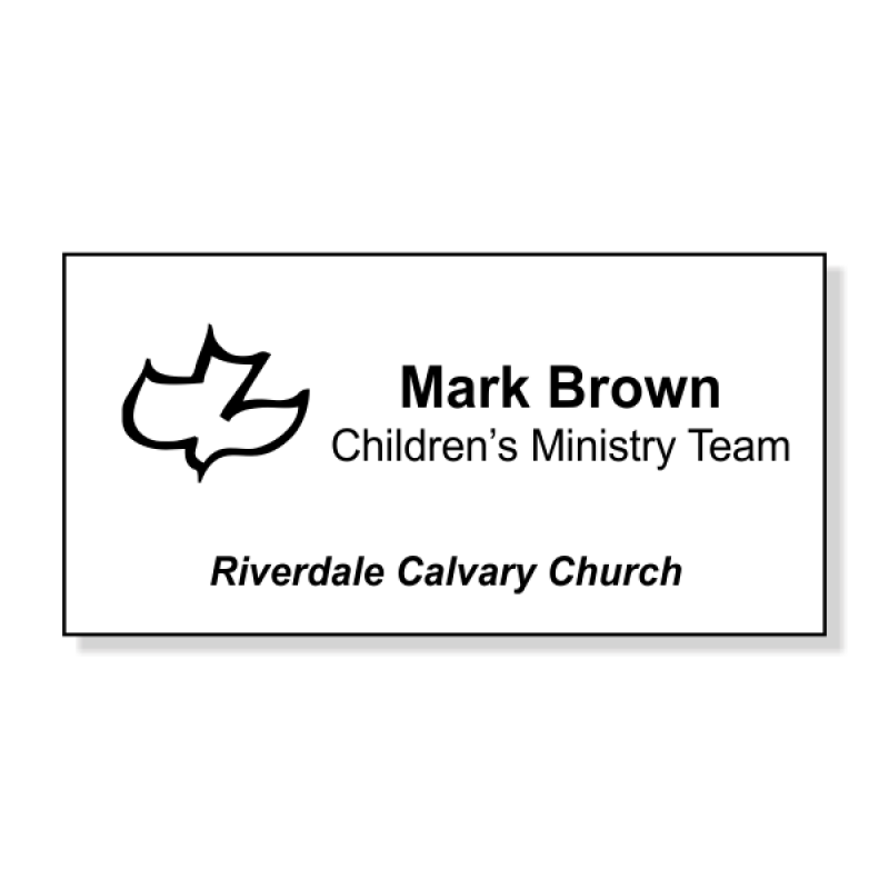 Calvary Engraved  Name Tag - Large Rectangle