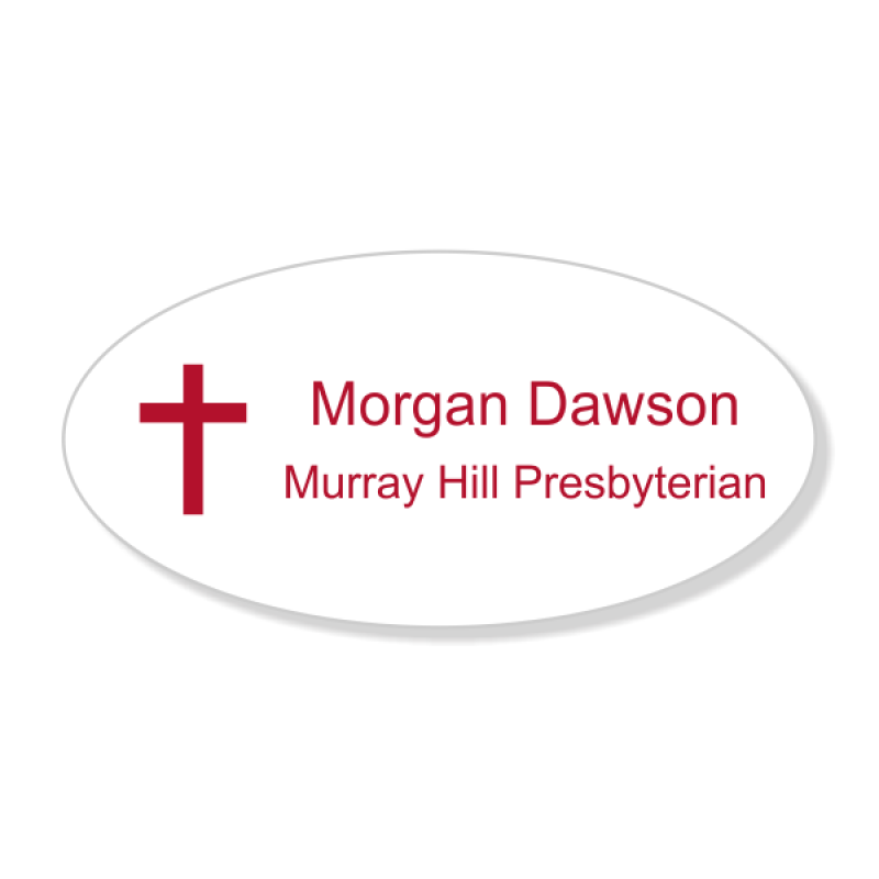Christian Cross Engraved Name Tag - Oval