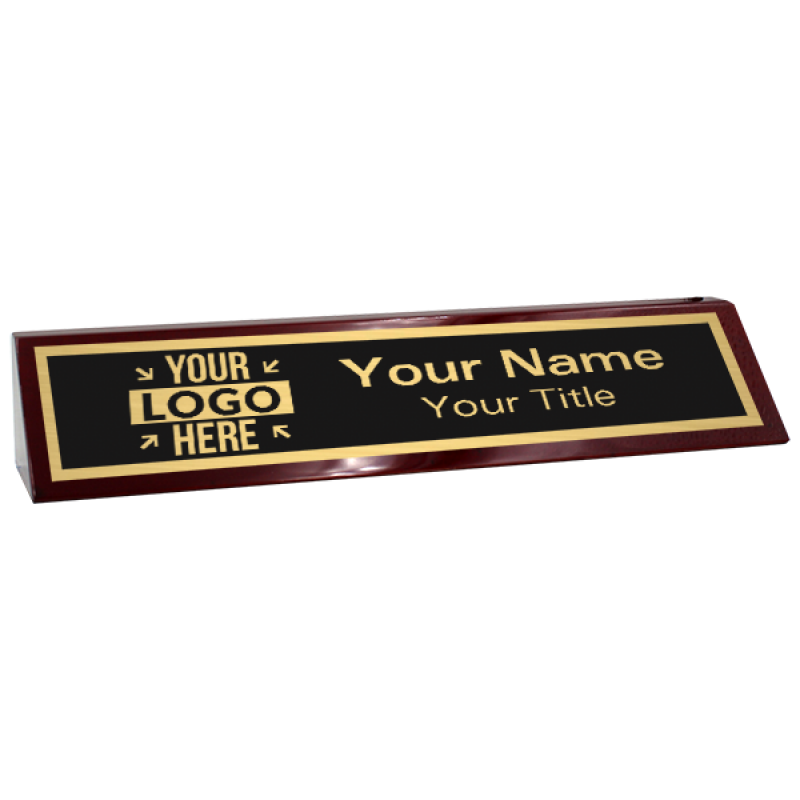 """Custom Text Desk Block with Logo   2"""" x 10"""" rosewood and gold"""
